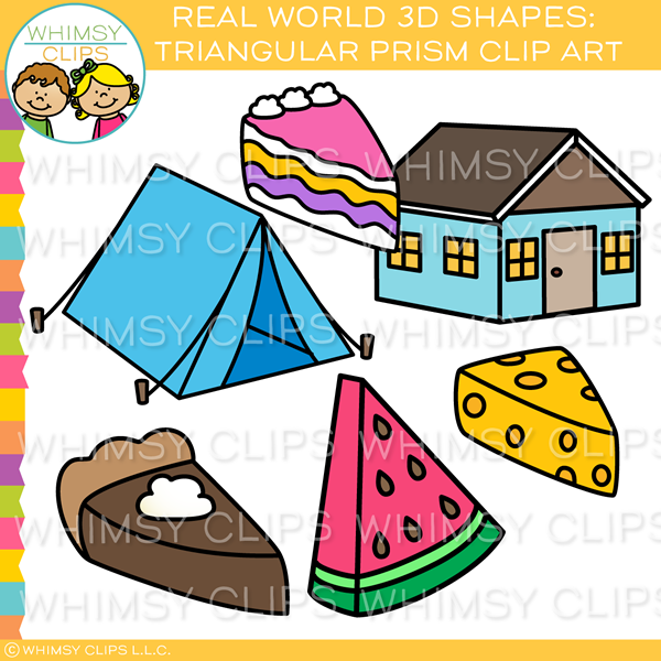 Real World 3D Triangular Prism Clip Art.