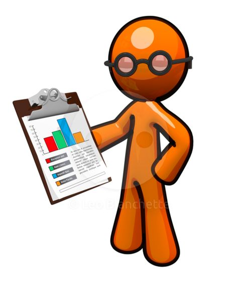 ClipArt Illustration Orange Man Reviewing Business Chart.