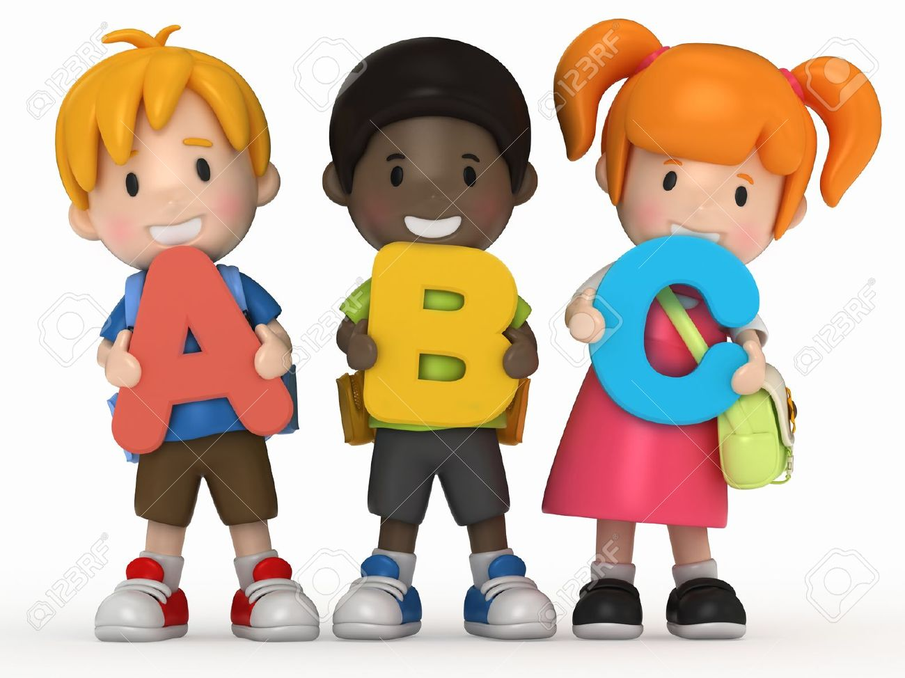 3D Render Of School Kids Holding ABC Stock Photo, Picture And.