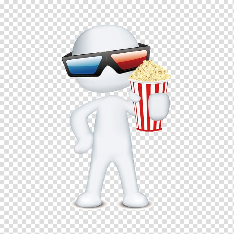 Cartoon Poster 3D computer graphics, Take popcorn man.