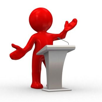 3d human give a lecture behind a podium » Clipart Station.
