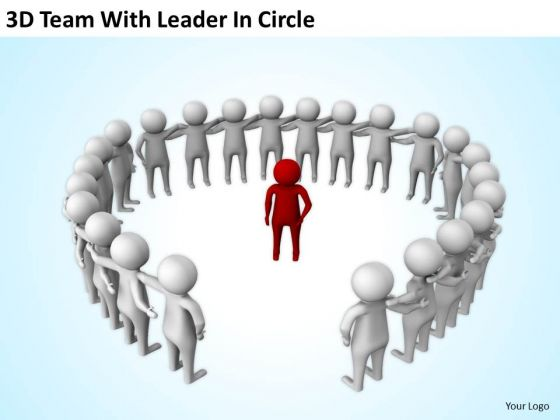 Business People Clipart 3d Team With Leader Circle.