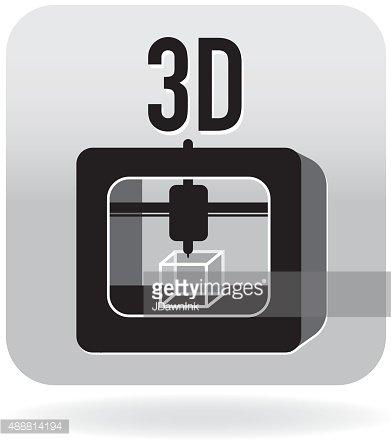 3d Printing Icon IN Gray premium clipart.