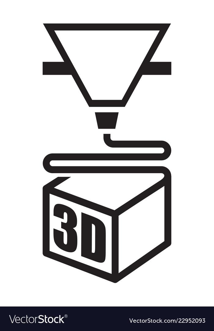 A black 3d printer icon.