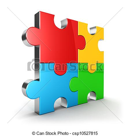 Clipart of 3d puzzle icon, four color puzzle piece, isolated.