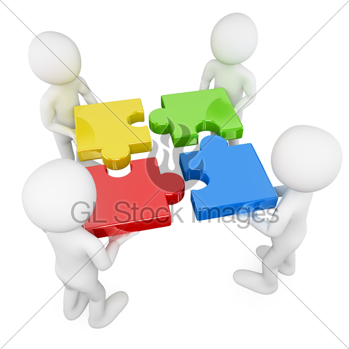 3d White People. Team With Puzzle · GL Stock Images.