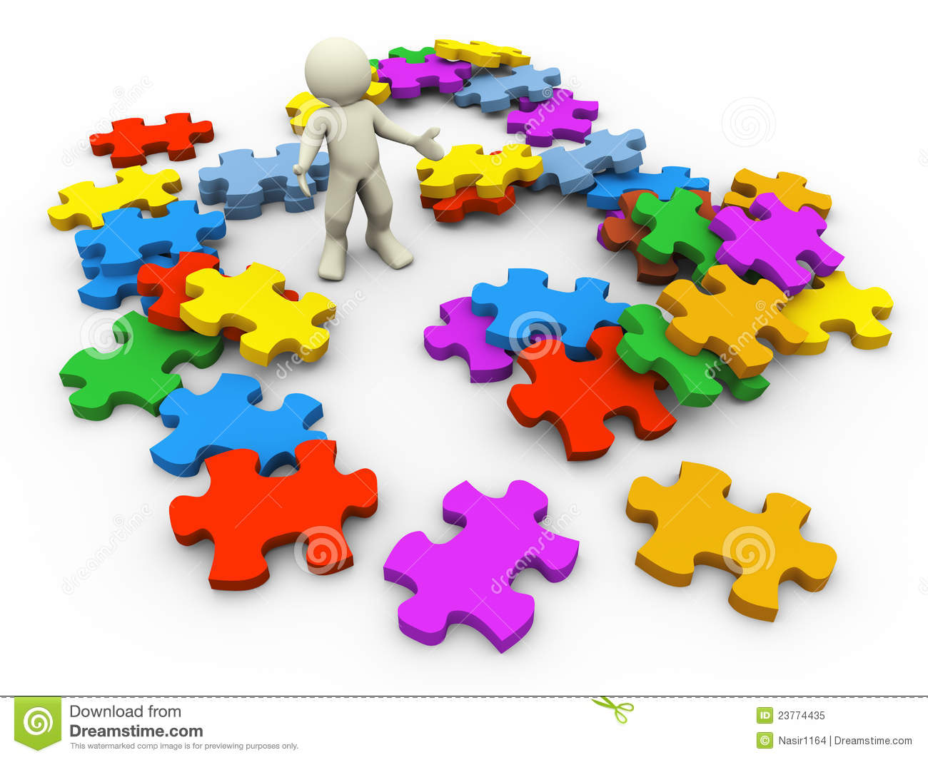 3d Heap Of Puzzle Pieces Royalty Free Stock Photo.