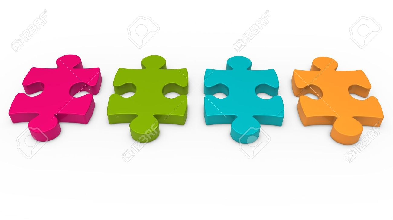 3d Puzzle Piece Series Pink Green Orange Stock Photo, Picture And.