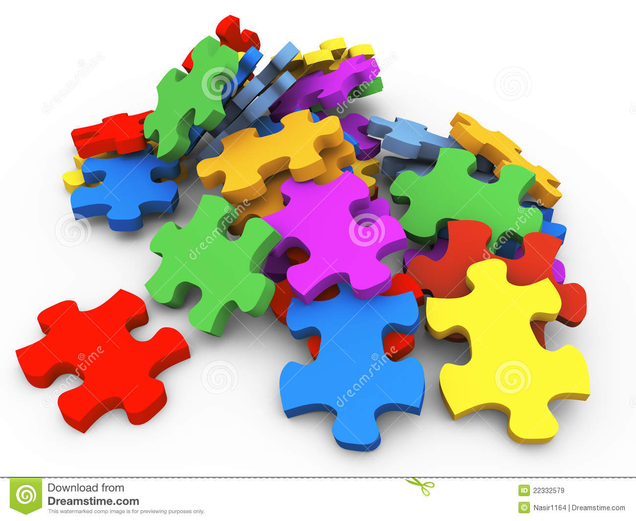 3d Heap Of Puzzle Pieces Royalty Free Stock Images.