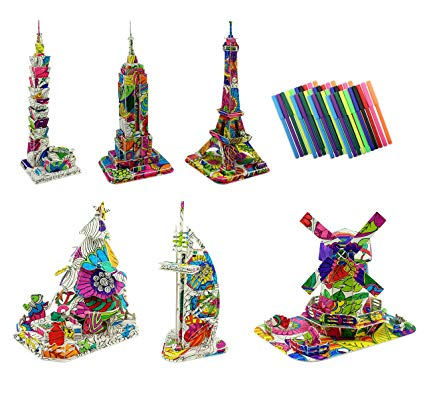 3D Coloring Puzzle Set, 6 DIY Models with 40 Markers Including Eiffel  Tower, Empire State Building, Christmas Tree, Etc..