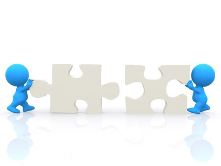 3D men assembling puzzle isolated over a white background.