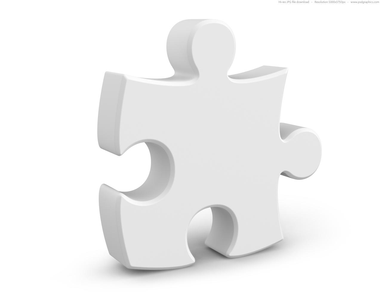 Single jigsaw puzzle piece, 3D symbol.