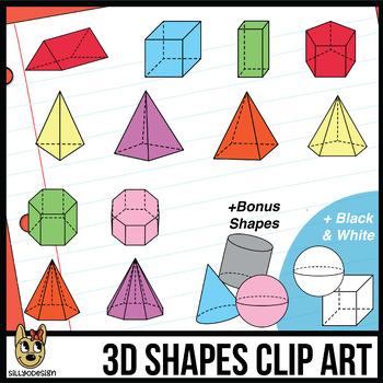 3D Shapes Clipart: Transparent Prisms & Pyramids, Color and Black & White.
