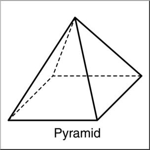 Clip Art: 3D Solids: Pyramid B&W Labeled I abcteach.com.