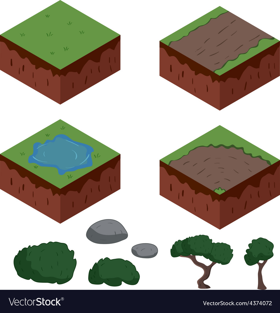 Set of cartoon isometric ground elements for games.