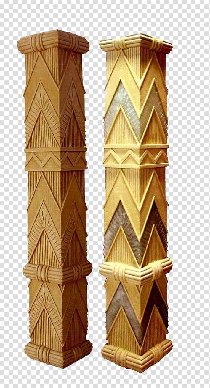 Two brown wooden racks illustration, Column Sculpture Stone.