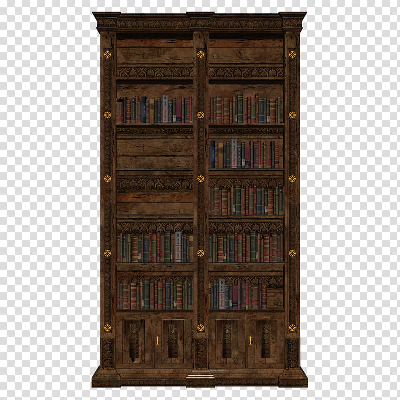 D Book Case, brown wooden.