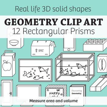 Real Life Objects Clip Art: 12 Regtangular Prisms 2D & 3D.
