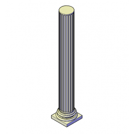 Fluted column 3D DWG block.