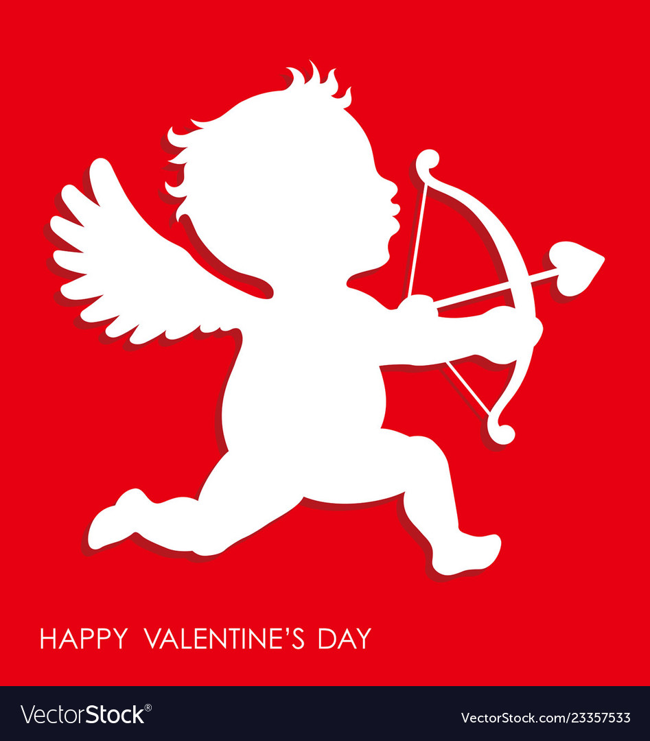 Valentines day 3d relief cupid icon.