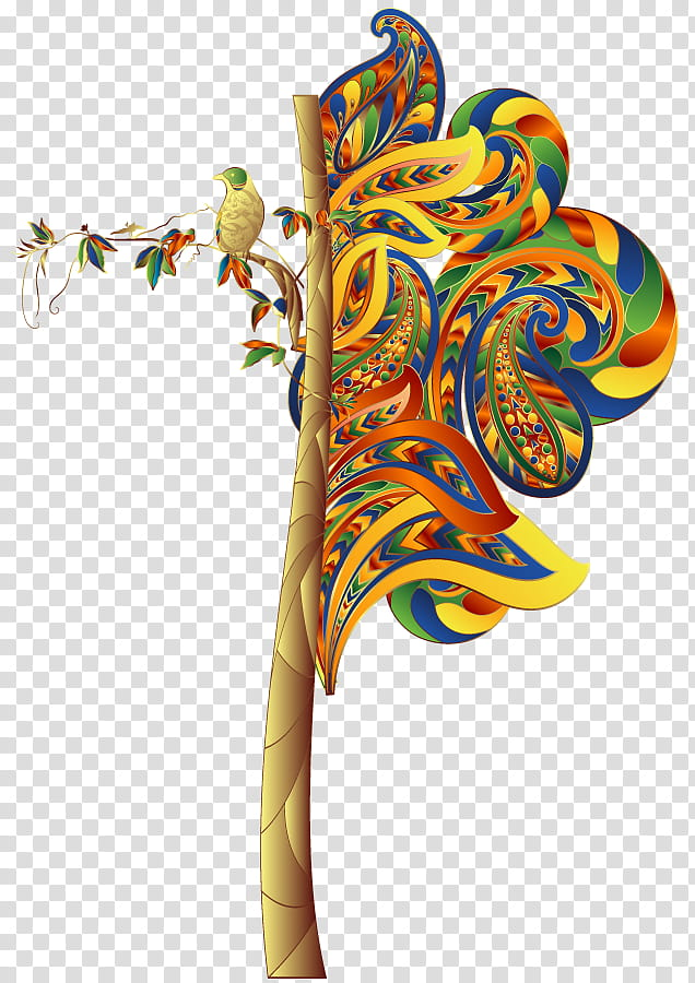 D Renders , multicolored paisley tree art transparent.