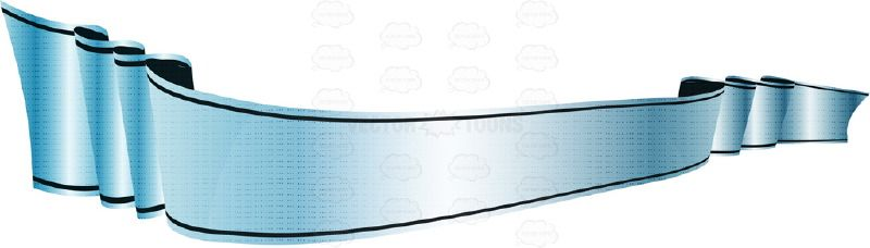 Light Blue Scrolling Gradient Banner Ribbon 3D Effect.
