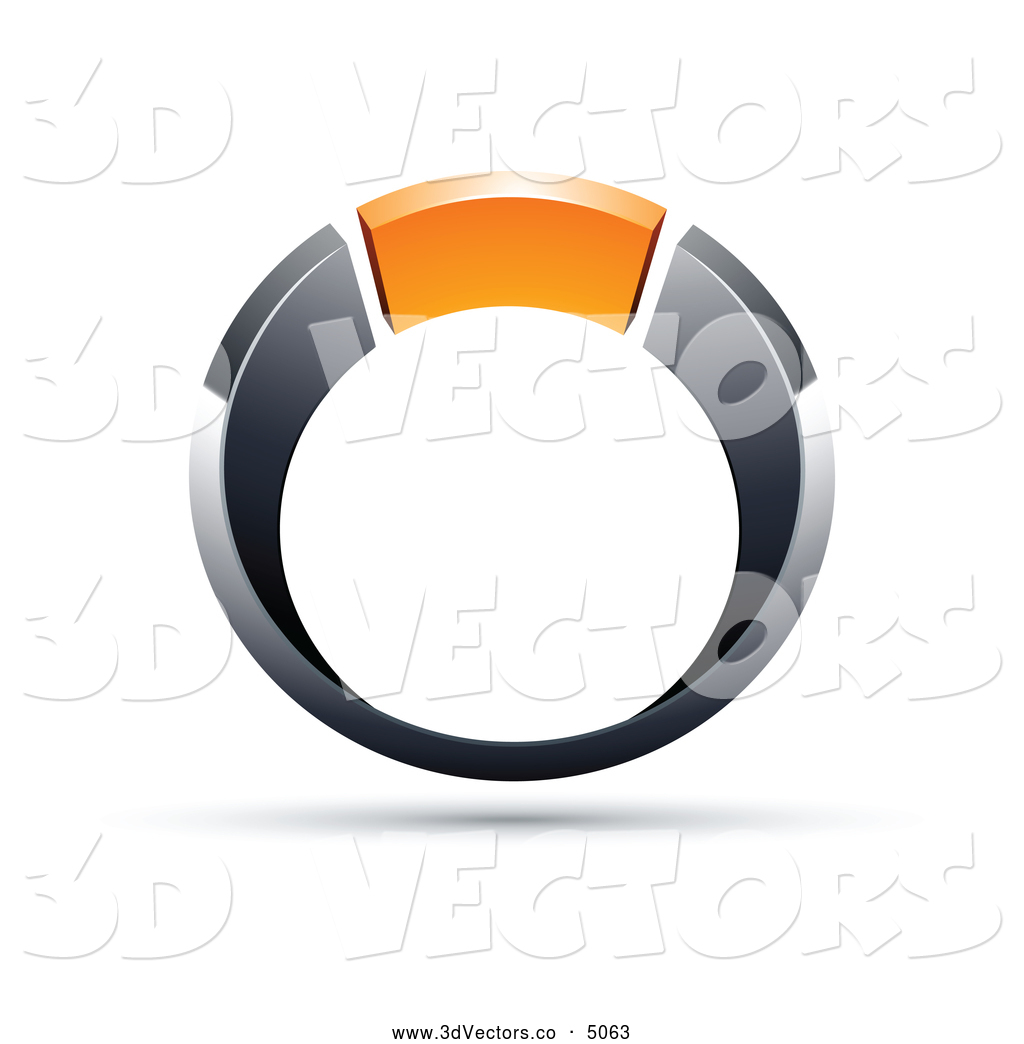 3d Vector Clipart of a Shiny Chrome and Orange Ring by beboy.