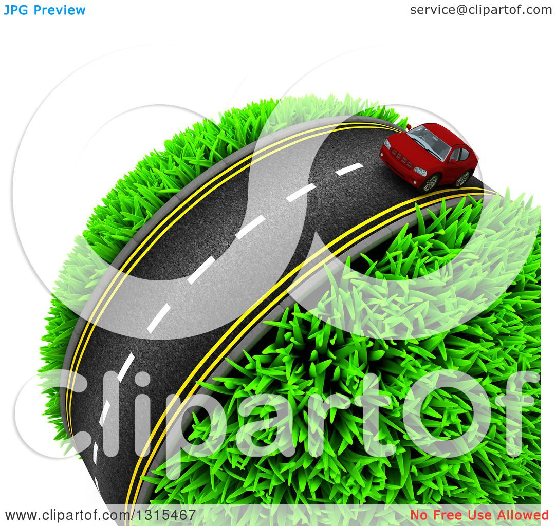 Clipart of a 3d Road with a Red Car Around a Grassy Planet, on.