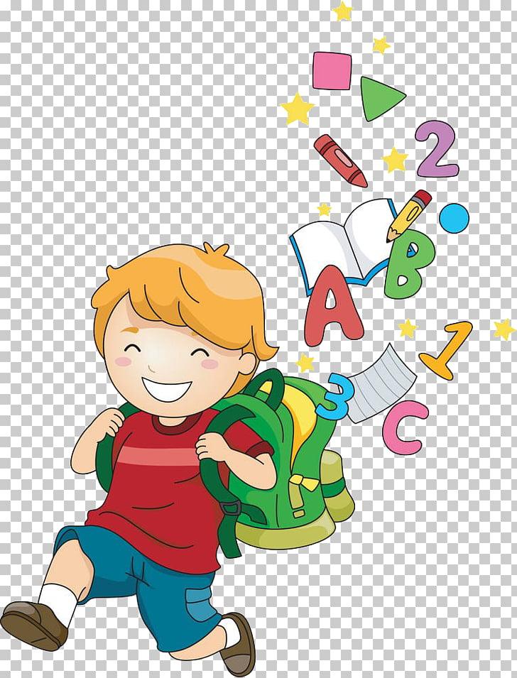 School Child Cartoon , Children learn, boy going to school.