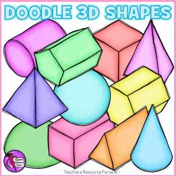 Doodle 3D Shapes clip art clipart.