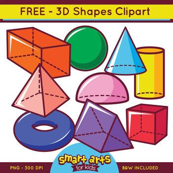 3D Shapes Clipart (FREE).