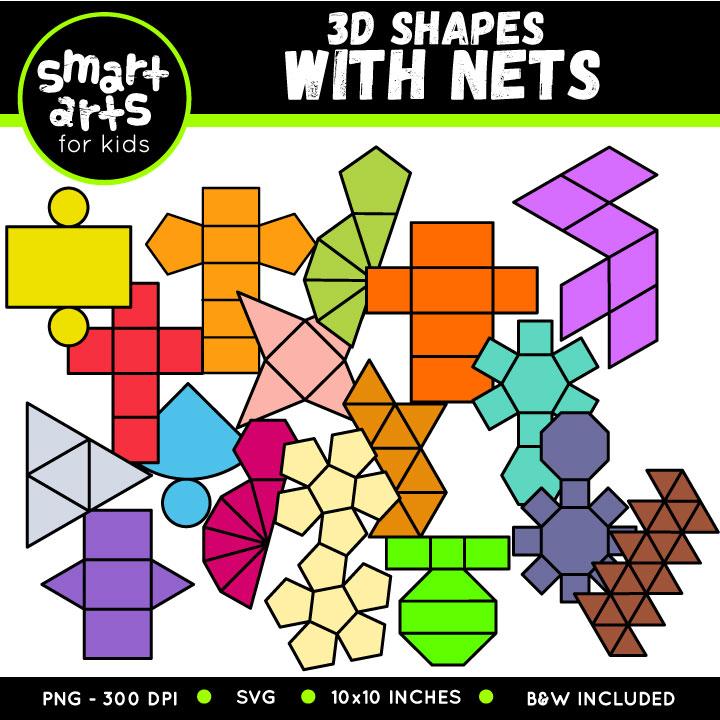 Math 3D Shapes with nets Clip Art.