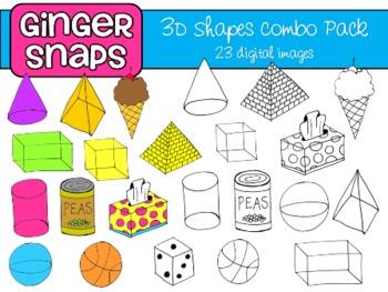 3D Shapes Clip Art Set.