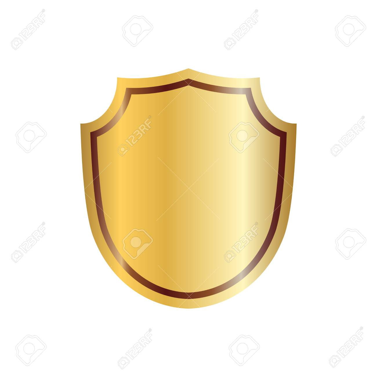 Gold shield shape icon. 3D golden emblem sign isolated on white...