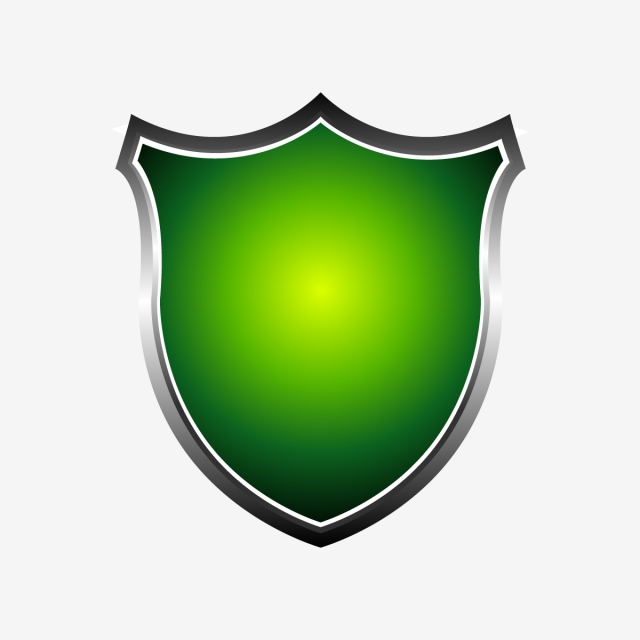 Metal 3d Green Shield Vector Illustration Isolated On White.