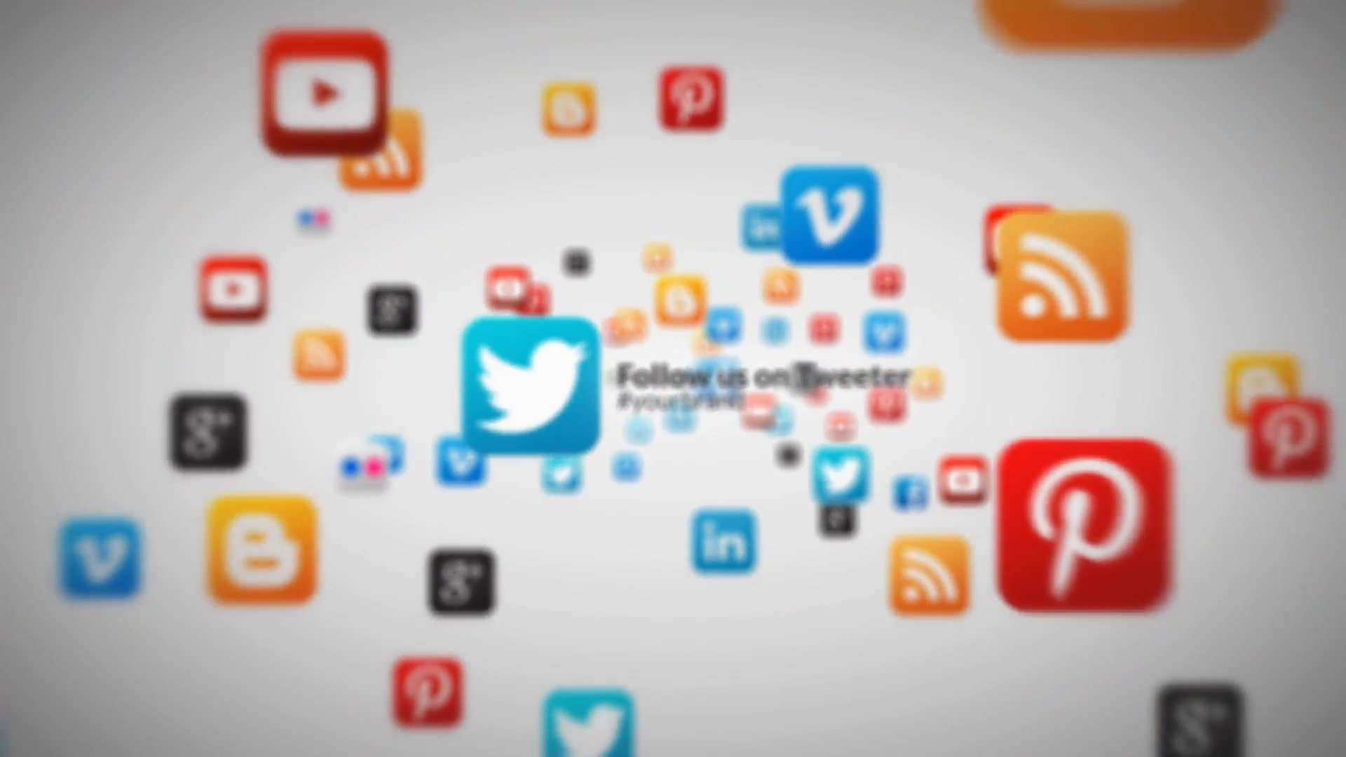 Social Media Icons 3d Fly through Corporate Business Logo Reveal Text  Advert Intro.