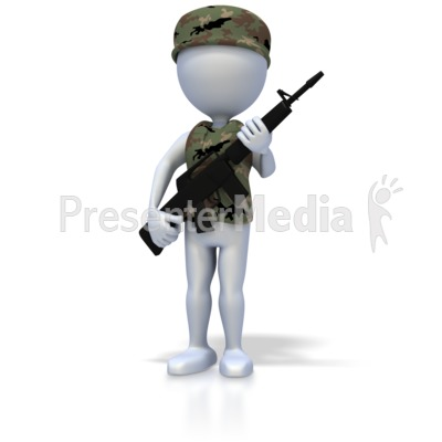 Military Stick Figure With Rifle.