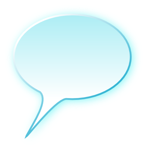 3D speech bubble cyan.