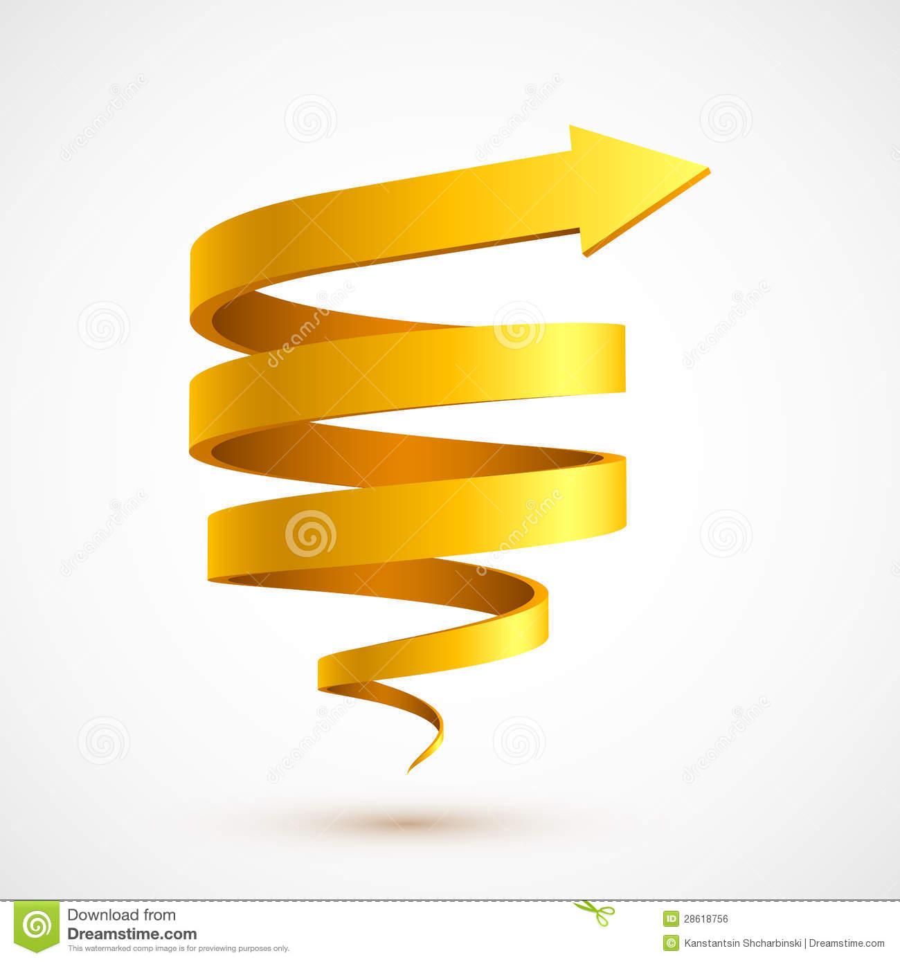 Yellow spiral arrow 3D stock vector. Illustration of.