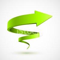 Green Spiral Arrow 3d Stock Vector.