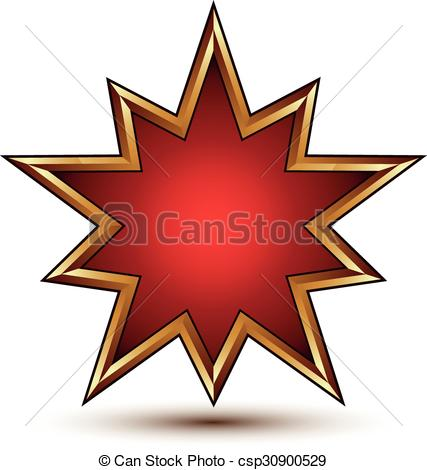 Vector Illustration of Heraldic 3d glossy star shaped icon with.