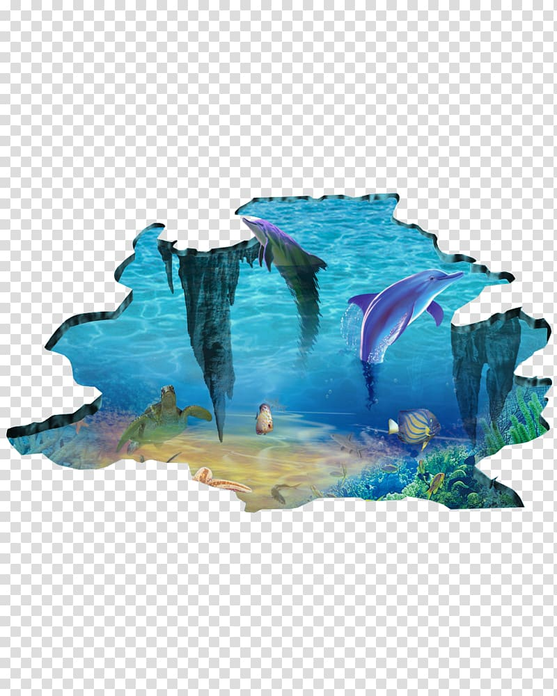 Blue dolphin , Wall decal Printing Sticker, 3D Underwater.