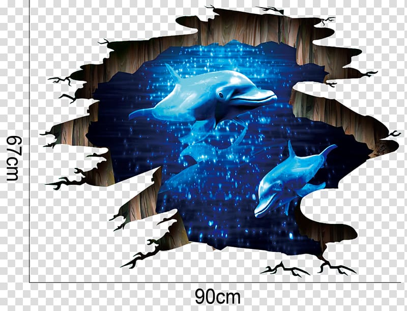 Dolphins , Wall decal Sticker Decorative arts Window, 3d.