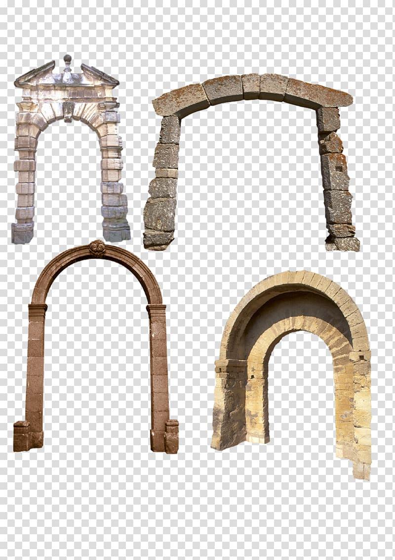 Arch Gratis, Four stone arches transparent background PNG.