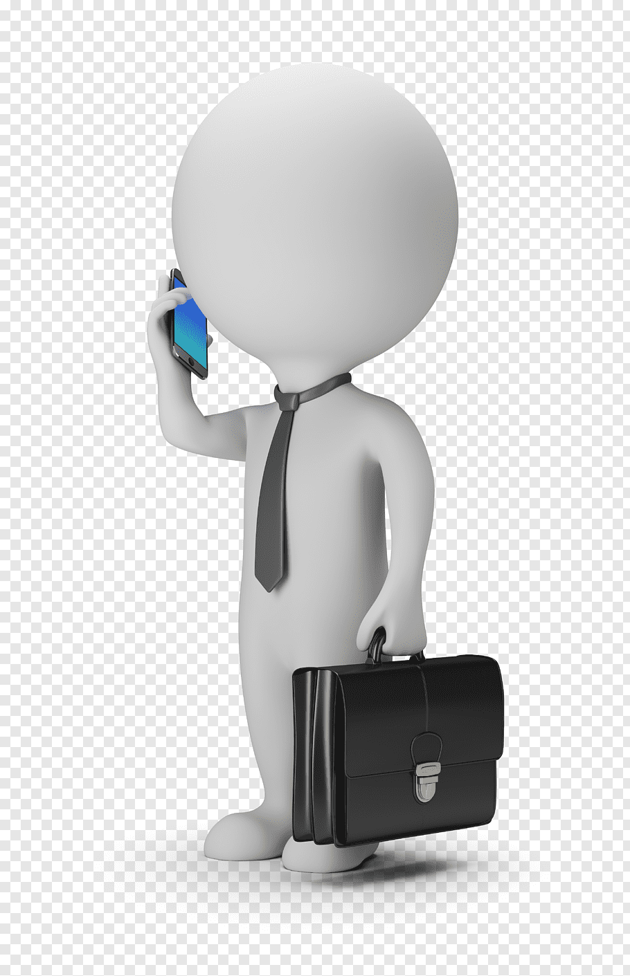 Man wearing black necktie holding smartphone and suitcase.