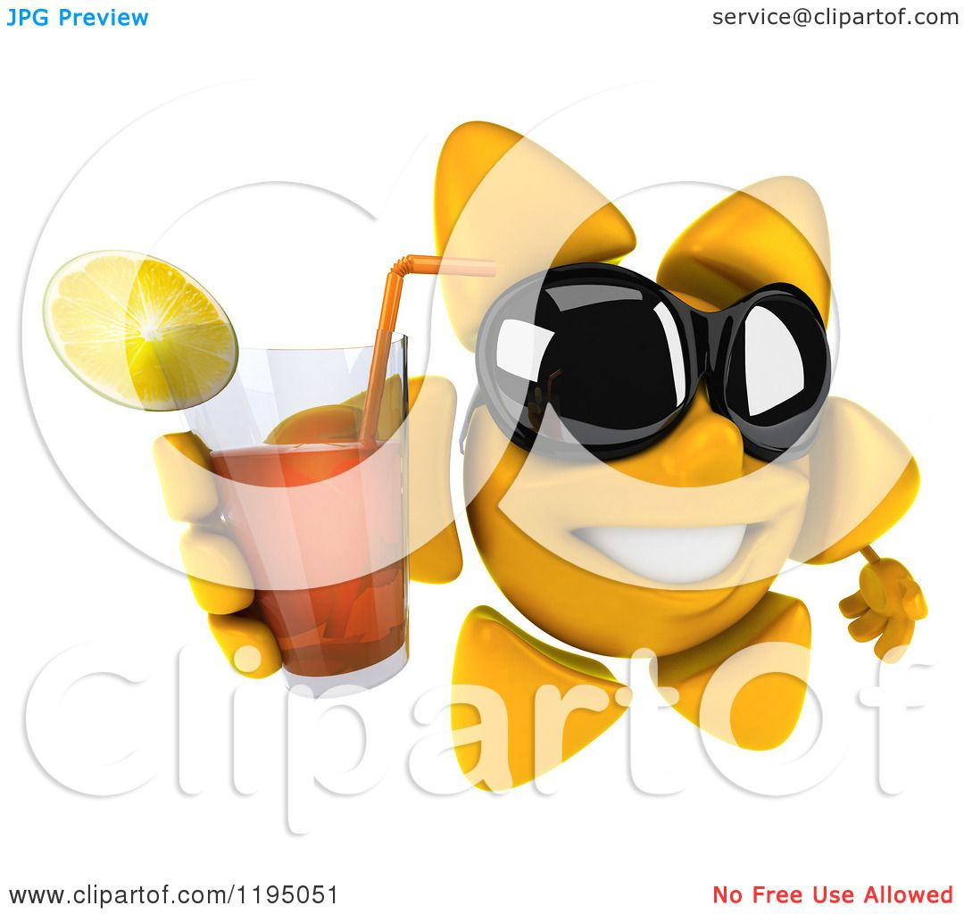 Clipart of a 3d Sun Mascot Wearing Shades and Holding up Iced Tea.