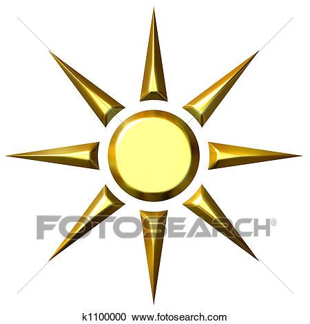 3D Golden Sun Clipart.
