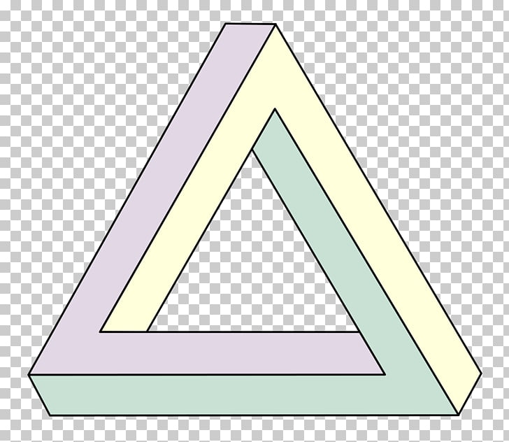 Penrose triangle Waterfall Geometry Impossible object, 3d.