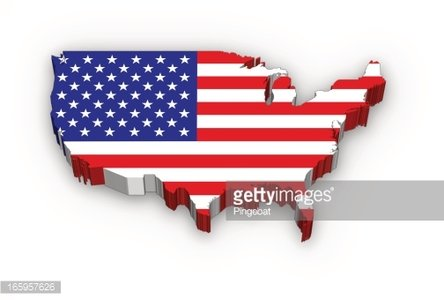 3D USA map flag Clipart Image.