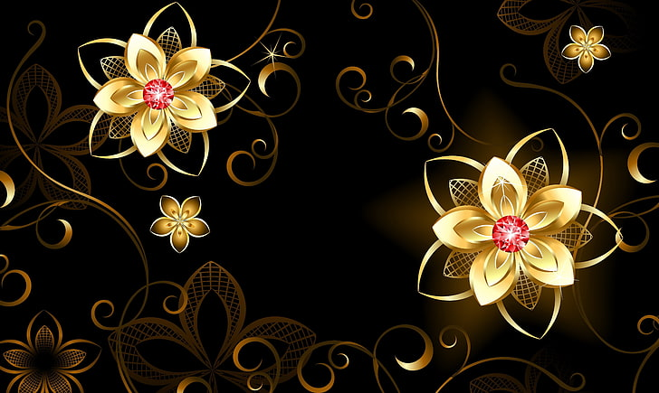 HD wallpaper: gold petaled flower clipart, flowers.